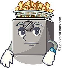 Waiting deep fryer machine isolated on mascot vector...
