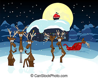 Waiting deers - Vector picture about funny deers waiting...