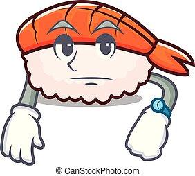 Waiting ebi sushi mascot cartoon