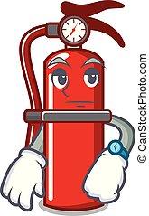 Waiting fire extinguisher mascot cartoon