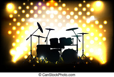 vector drum kit on stage before concert, eps10 file, gradient mesh and transparency used