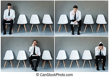 Waiting for his interview. Collage of young businessman in shirt and tie expressing different emotions while sitting on the chair and waiting for interview