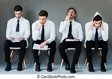 Waiting for his turn. Collage of young businessman in shirt and tie expressing different emotions while sitting on the chair and waiting for interview