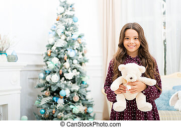 waiting for santa. Xmas. Cute little child girl with xmas present. happy new year. Christmas shopping. christmas family holiday. The morning before Xmas. Beat the Christmas rush