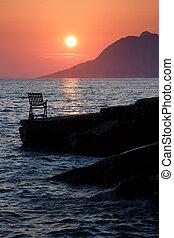 waiting for sunset in Brela on the Adriatic sea - Croatia, Europe
