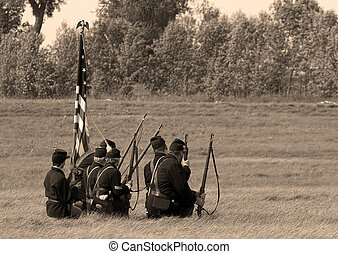 Waiting for the Enemy - Civil war soldier on the battlefield