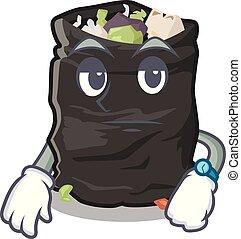 Waiting garbage bag behind the character door