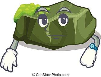Waiting green rock moss isolated on cartoon vector...