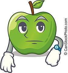 Waiting green smith apple isolated on cartoon
