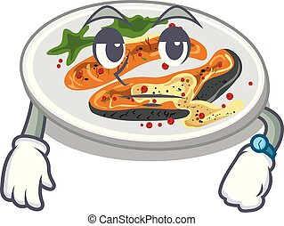 Waiting grilled salmon on a cartoon plate
