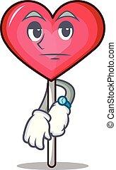Waiting heart lollipop mascot cartoon vector illustration