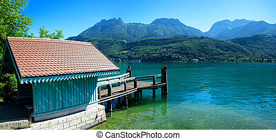 Waiting house for tourists to embark ships to Duingt on Annecy lake, french Alps
