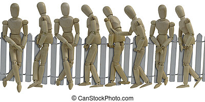 Waiting in Line in Front of a Fence