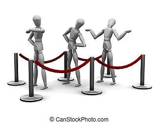 Waiting in queue - 3D render of people waiting in a queue
