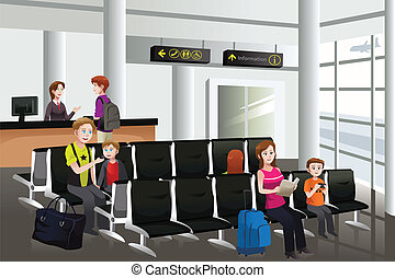 A vector illustration of passengers waiting for their flight at airport