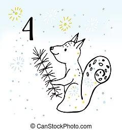 waiting., kalender, advent, kerstmis, illustratie