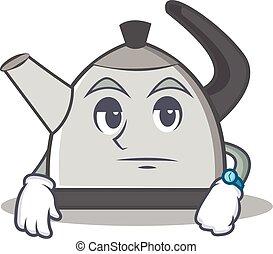 Waiting kettle character cartoon style vector illustration