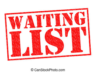 WAITING LIST red Rubber Stamp over a white background.