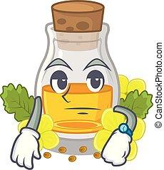 Waiting mustard oil in the cartoon shape