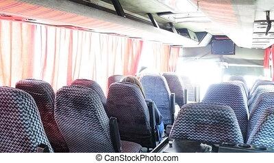 waiting passengers. Interior of public bus - Waiting...