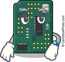 Waiting PCB circuit board in the cartoon vector illustration