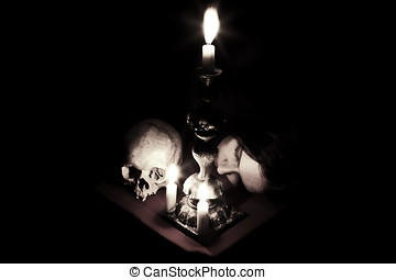 Waiting - The head of a young girl lying beside to the skull...