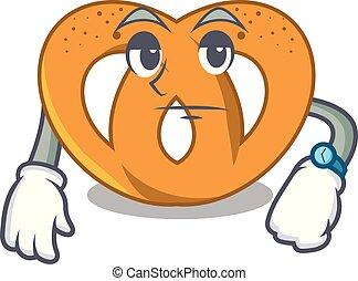 Waiting pretzel mascot cartoon style