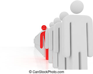 Waiting queue - 3d rendered images of long waiting queue,one...