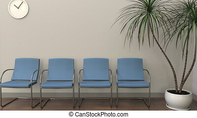 Waiting room at audiologist office. Medical practice...