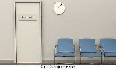 Waiting room at psychiatrist office. Medical practice concept. 3D rendering