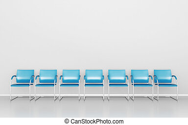 Waiting room - Blue stools in the waiting room