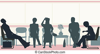 Waiting room - Editable vector silhouettes of people sitting...