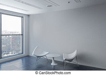 Waiting Room With Chairs And Clock 3d Rendering Illustration