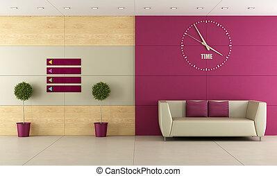 Waiting room - Modern waiting room with sofa and big clock...