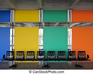 Waiting room, chairs, diaphanous.