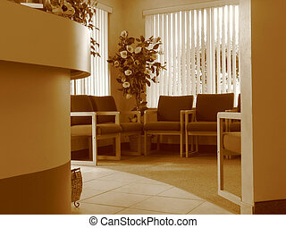 Waiting Room - Shot of a waiting room in an office of a...