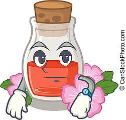Waiting rosehip seed oil on a mascot