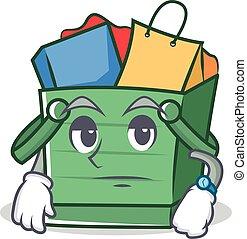 Waiting shopping basket character cartoon