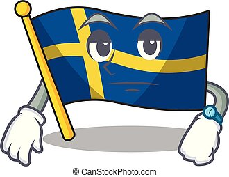 Waiting swede flags flutter on character pole vector ...