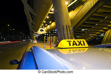 Waiting taxi - A taxi, waiting for the next fare near the...
