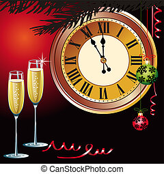Waiting the New Year with champagne and clock