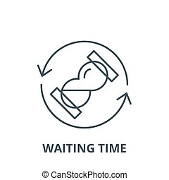 Waiting time vector line icon, linear concept, outline sign, symbol