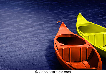 Waiting - Two hire boats on calm water.