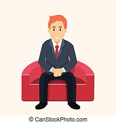 waiting-vector, διαμέρισμα , καναπέs , κάθονται , σχεδιάζω , επιχειρηματίας