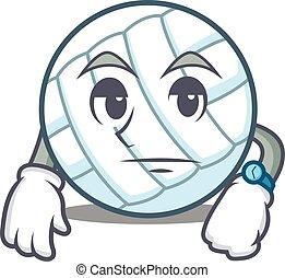 Waiting volley ball character cartoon vector illustration