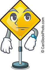Waiting warning sign with exclamation mark mascot vector...