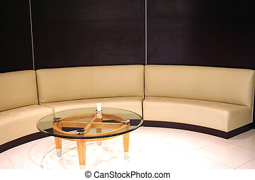 Waitinga area - Corporate waiting area, tanned leather sofa...