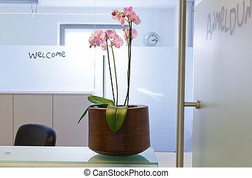 waitingroom, in, een, klinisch