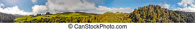 Waitomo countryside, panoramic view of New Zealand hills in spring