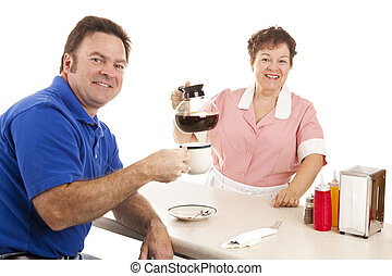 Waitress and Customer in Diner